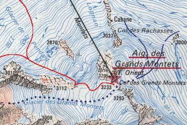 """Extrait de la carte 1:25000 3630 Ouest """"Chamonix - Mont-Blanc"""" ©I.G.N. -Paris 1984"""